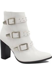 Bota Via Marte Ankle Boot Fivela Feminina - Feminino-Branco