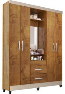 Guarda-Roupa Solteiro Com Espelho Capelinha 4 Pt 2 Gv Canelato E Natural