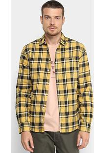 Camisa Xadrez Colcci Manga Longa Slim Masculina - Masculino-Amarelo+Preto