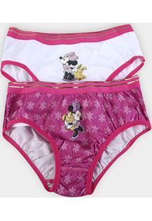 Kit Calcinha Lupo Disney Minnie Feminina - 2 Peças - Feminino-Pink