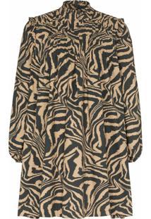 Ganni Vestido Godê Com Animal Print - 185 Tannin