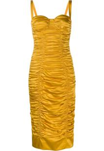 Dolce & Gabbana Vestido Midi Com Franzido - Amarelo