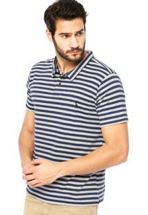 Camisa Polo Manga Curta Reserva Listras Botões Azul/Off-White