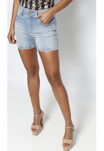 Bermuda Jeans Estonada Com Pespontos - Azul Claromiss Bella