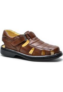 Sandália Dr Shoes Conforto Masculino - Masculino-Marrom