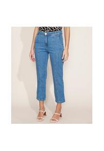 Calça Jeans Feminina Reta Cintura Alta Com Recorte E Bolsos Azul Médio
