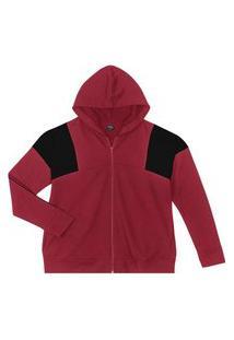Jaqueta Feminina Plus Size Com Capuz Rovitex Plus Vermelho