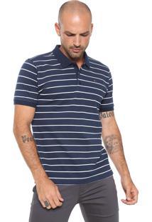 Camisa Polo Aramis Manga Curta Listras Azul Marinho/ Branca