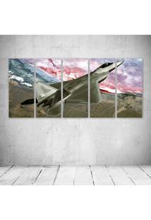 Quadro Decorativo - F Raptor Fly Over - Composto De 5 Quadros - Multicolorido - Dafiti