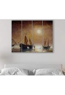 Placa Painel Decorativa Em Mdf Foto Barco Kit 4 Placas