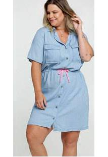 Vestido Feminino Jeans Chemise Plus Size Razon