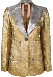 Nº21 Blazer Com Bordado Contrastante - Dourado