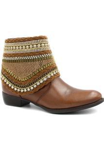 Bota Cano Curto Zariff Shoes Ankle Boot Zíper Feminina - Feminino-Marrom Claro