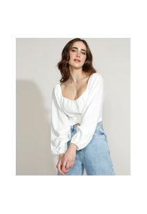 Blusa Feminina Mindset Cropped Com Amarração Manga Bufante Decote Redondo Off White