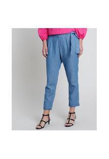 Calça Jeans Feminina Clochard Cintura Super Alta Com Faixa Para Amarrar Azul Médio