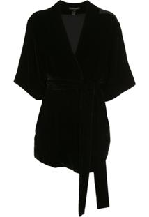 Kiki De Montparnasse Jaqueta Robe Com Cinto - Preto