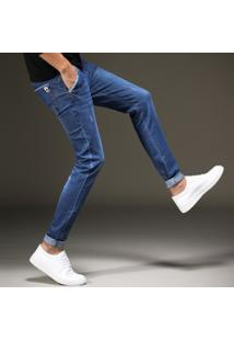 Calça Jeans Masculina Skinny Comfort - Azul