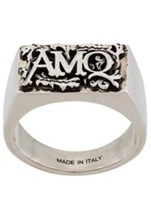 Alexander Mcqueen Engraved Logo Ring - Prateado