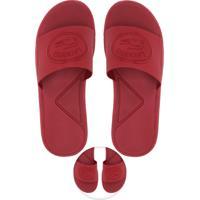 5a3e9cab1 Chinelo Slide Lacoste Logo Relevo Vermelho