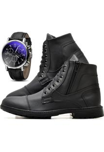 Bota Juilli Coturno Com Relógio Adventure Social R501M Preto