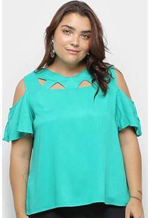 Blusa Heli Open Shoulder Ciganinha Plus Size Feminina - Feminino