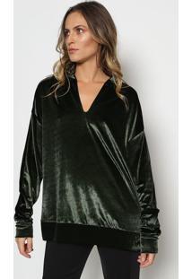 Blusão Em Veludo - Verde Escuro - Tritontriton