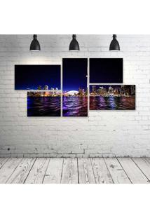 Quadro Decorativo - Toronto-Nightscape - Composto De 5 Quadros - Multicolorido - Dafiti
