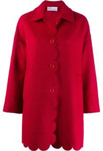 Red Valentino Casaco Com Barra Desfiada - Vermelho