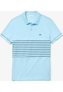 Camisa Polo Lacoste Regular Fit Masculina - Masculino-Azul Claro+Azul