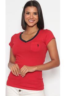 Camiseta Com Bolso- Vermelha & Azul Marinhous Polo