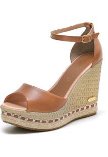 Sandã¡Lia Sb Shoes Anabela Ref.3200 Whisky - Caramelo - Feminino - Couro - Dafiti