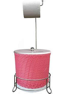Suporte De Papel Higienico Com Lixeira Trançada (Rosa)