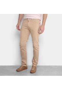 Calça Slim Calvin Klein Color Sarja Masculina - Masculino-Cáqui