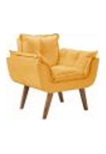 Poltrona Decorativa Opalla Com Pés Madeira D Salla Suede Amarelo