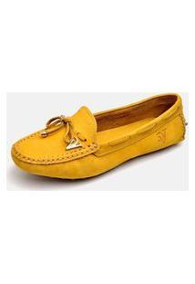 Sapatilha Mocassim Torani Confortável Couro Amarelo