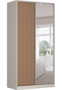 Guarda-Roupa Solteiro Com Espelho Tunas Iv 2 Pt 3 Gv Branco E Marrom