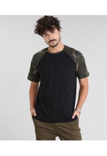 Camiseta Masculina Raglan Com Estampa Camuflada Manga Curta Gola Careca Preta
