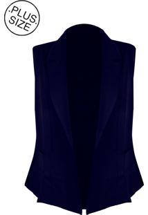 Colete Linda D+ Alfaiataria Com Bolsos - Plus Size (H3585) Azul