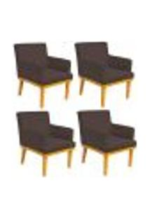 Kit 04 Poltronas Decorativa Para Sala De Estar Base Mel Beatriz W01 Suede Marrom - Lyam Decor