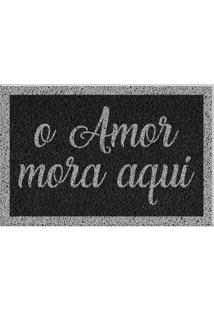 Capacho De Vinil O Amor Mora Aqui Cinza Único Love Decor