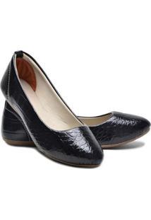 Sapatilha Ded Calçados Bico Fino Verniz Feminina - Feminino-Preto