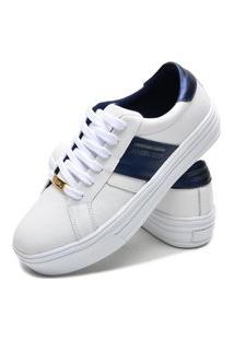 Sapatenis Feminino Calçados Gb Polo Urban Branco Com Azul