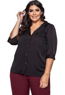Camisa Almaria Plus Size Pianeta Crepe Anusha Pret