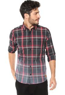 Camisa Dimy Xadrez Preta/Rosa