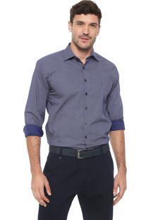 Camisa Dudalina Reta Estampada Azul-Marinho