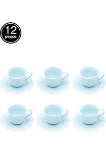 Jogo De 12 Pçs Xícaras Para Café Com Pires De Porcelana Princess Azul 90Ml Lyor