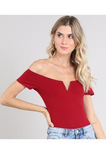Body Feminino Com Recorte Vazado Ombro A Ombro Manga Curta Vermelho