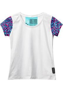 Camiseta Baby Look Feminina Algodão Estampa Moda Casual Leve - Feminino-Branco+Azul