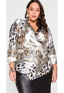 Camisa Almaria Plus Size Garage Animal Print Branc