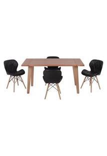 Conjunto Mesa De Jantar Em Madeira 150X80 Vértice + 4 Cadeiras Slim - Preto